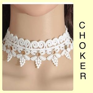 White ivory Lace Bow Grommet Choker Collar Goth
